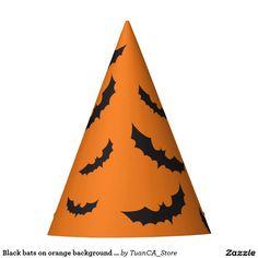Black bats on orange background Halloween