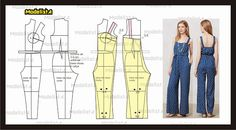 ModelistA Overalls Vintage look. Easy Sewing Patterns, Clothing Patterns, Dress Patterns, Jumpsuit Pattern, Pants Pattern, Sewing Pants, Sewing Clothes, Fashion Sewing, Diy Fashion