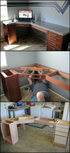 How To Build A Concrete Desk diyprojects. How To Build A Concrete Desk diyprojects.ideas… It doesn't get much stronger than concrete, so if you need a heavy duty desktop, this could be the project for you. Home Office Design, Home Design, Interior Design, Woodworking Plans, Woodworking Projects, Youtube Woodworking, Wood Furniture, Furniture Design, Furniture Plans