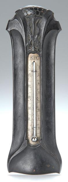 Art Nouveau brass thermometer, black patina, c. 1902, 25.5cm H.