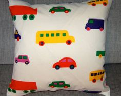 "Bo Boo pillow cushion case, 50x50cm, 20"", cotton designer fabric, Finland, white, red yellow green"
