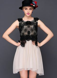 Apricot Contrast Black Round Neck Embroidered Dress $60