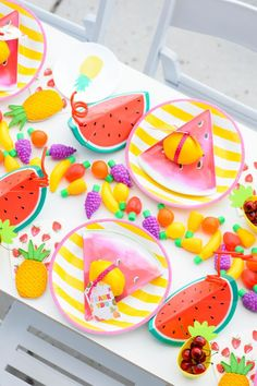 Kara's Party Ideas Tips for planning the Perfect Tutti Frutti Summer Soiree | Love the fruit candy table runner!