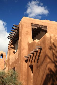 "An adobe building in Santa Fe, New Mexico, with a 17th century style. ""The Fine Art Photography of Frank Romeo."""