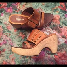 """Max Studio Wood Wedge Style is """"Levett"""" 4"""" wedge heel 1 1/4""""platform Nice Wide oiled leather strap and a smaller strap across the top of the shoe.. Some signs of wear but over all still a great shoe for all of your summer boho events☀️No trades no pay pal Max Studio Shoes Wedges"""