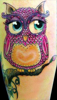 Pink Girly Owl Tattoo