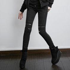 PK-069 Punk Black Denim Winter Bony Vintage skinny Woman Jeans
