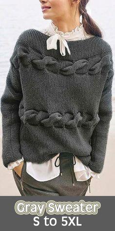 Women s fashion round neck long sleeve gray sweater sweater women grey Crochet Dress Outfits, Daily Dress Me, Grey Fashion, Womens Fashion, Pullover Mode, Grey Outfit, Sweater Fashion, Business Fashion, Women's Fashion Dresses