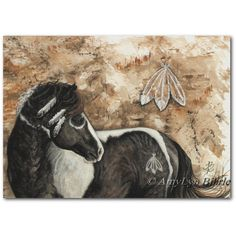Majestic Horse War Paint Pinto Native Feathers ArT Prints by Bihrle... ($20) ❤ liked on Polyvore featuring home, home decor, wall art, horse home decor, feather wall art and horse wall art