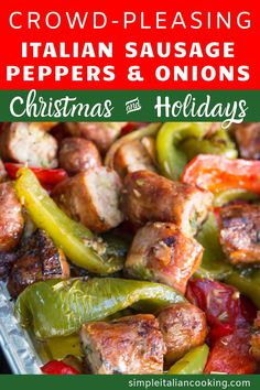 Enjoy the family favorite Italian recipe that tastes amazing every time! A perfect recipe for holiday parties and crowds! The flavors of the sausage, peppers, & onions blend so well with the Italian seasonings, plus it's super easy to make! Visit here to Italian Sausage Recipes, Italian Dinner Recipes, Italian Dishes, Onion Recipes, Pork Recipes, Cooking Recipes, Healthy Recipes, Budget Cooking, Vegetarian Cooking