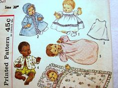 Vintage Betsy Wetsy & Tiny Tears 1950s Baby Doll Clothes Pattern Simplicity viewed on Etsy by PatternsFromThePast