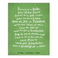 """Leinwandbild *""""mit Liebe"""" (grün), mit Widmung, 20x25 cm* **_""""Tu, was du tust, mit Liebe. Höre auf dein Herz. Freu dich über das Gute & Schöne. Ändere was dir nicht gefällt. Nimm dir Zeit zum..."""