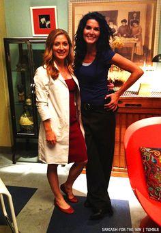 Sasha and Angie on set (: