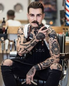 Sleeve and Hand Tattoos . Sleeve and Hand Tattoos . Pin by Samra Says On Tattoo Ideas 3 Trendy Tattoos, Black Tattoos, Tattoos For Guys, Tattoo Model Mann, Tattoo Models, Body Art Tattoos, Hand Tattoos, Sleeve Tattoos, Full Body Tattoo