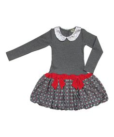 Take a look at this Dark Melange Polka Dot Drop-Waist Dress - Toddler & Girls today!