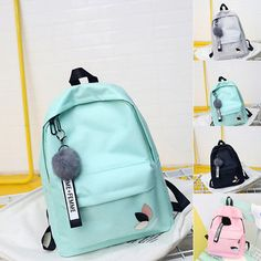 Women PU Leather Shoulder Bags Pure Messenger Bags Crossbody Satchel Purse Tote Women's BackPack Candy Student School Bag For Teenagers Girls Hanger Fur Ball Cute Backpacks For School, Stylish Backpacks, Cool Backpacks, Teen Backpacks, Leather Backpacks, Leather Bags, Bags For Teens, School Bags For Girls, Girls Bags