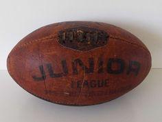 Vintage 1960's Leather Junior League Rugby Ball Sporting Memorabilia by VintageBlackCatz on Etsy