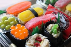 Candy Sushi -Freakin' awesome Many versions use Rice Krispie Treats, Swedish Fish, Fruit Roll-Ups and Licorice.                April Fool's Day Surprise