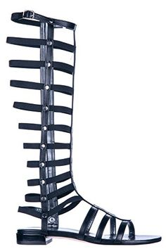 Stuart Weitzman womens leather sandals black US size 8 GLADIATOR *** Read more reviews of the product by visiting the link on the image.(This is an Amazon affiliate link)