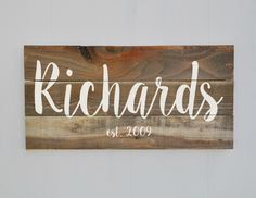 Last Name Sign, Family Established Sign, Personalized Family Name sign, Rustic Wood Decor, Housewarming Gift, Wedding Gift, Weathered Wood by wavynavy on Etsy https://www.etsy.com/listing/251274740/last-name-sign-family-established-sign