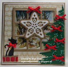 Anja Zom kaartenblog: De laatste van augustus Christmas Cats, Handmade Christmas, Cat Cards, Marianne Design, Vintage Cards, Scrap, Joy, Create, Projects