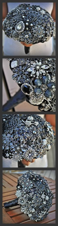 Black Brooch Bouquet by Blue Petyl #black #broochbouquet