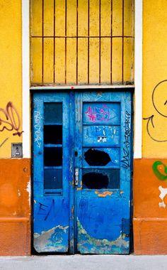 Vienna, Austria - These blue doors have seen better days