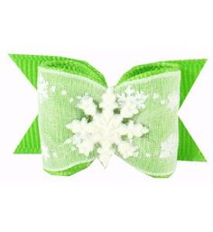 "Dog Grooming Bows Christmas Green Snowflakes 7/8"""