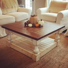Antique White Distressed Harvest Coffee Table by BushelandPeckFarm