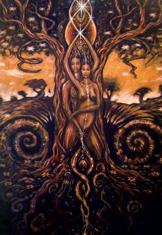 """sexuality is a huge part of our human/spirtual BEING. Sexual energy is POWERFUL, When all of our chakras are purified enough for divine energy to flow through each one of them, our crown chakra and higher chakras open and expand and a powerful euphoric blissful energy flows through our entire being. ~Sabrina Image Credit~ Jarah Tree """"Tree Of Life"""""""