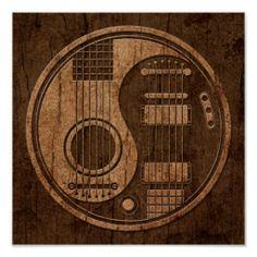 Acoustic Electric Guitars Yin Yang Wood Effect Poster