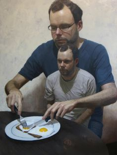 Ben Smith Doubt begins at breakfast (double self-portrait). Oil on board, 2010.