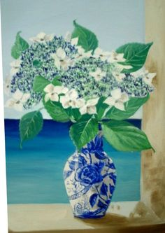 Lace Cap Hydrangeas Oil Painting flowers in a blue by MARVINSTUDIO, $175.00