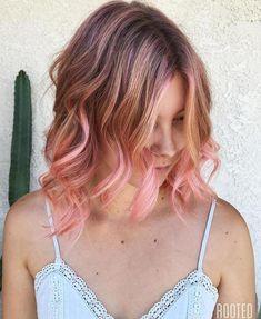 bronde bob with pastel pink balayage
