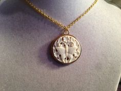 Butterfly Necklace  Gold Jewelry  Cream Pendant by cdjali on Etsy