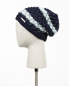 VERONA Winter Fall Handmade Slouchy Hat Beanie Design PURE ALPACA Knitted 100% Baby Alpaca Stripes Chunky Mulberry Pattern for Women (Navy Blue/Glacier Ice) -- Awesome products selected by Anna Churchill