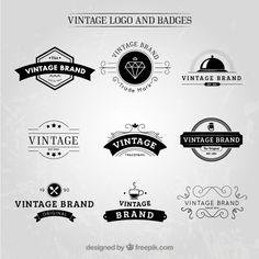 logotipos e insignias dibujadas a mano de la vendimia Vector Gratis