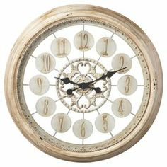 "Distressed ivory wall clock with openwork details.      Product: Wall clock    Construction Material: Iron  Color: Distressed ivory    Features: Golden accentsAccommodates: Batteries - not included Dimensions: 24"" Diameter x 2.5"" D"