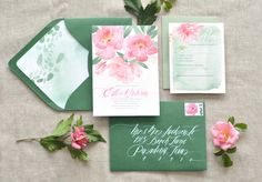 Pink peonies and green envelopes: http://www.stylemepretty.com/collection/2550/