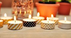 Super cute way to dress up tea light candles - washi tape!
