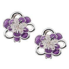 CIRO Jewelry Traviata white gold flower omega clip on earrings. Floral design. White & purple CIROLIT stones. Lilac enamel. Omega clip back. White gold plated.