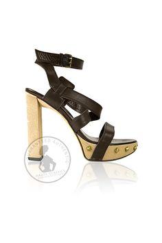 SERGIO ROSSI Dark Brown Leather Gold Studded Sandals (Size 38) - HauteClassics