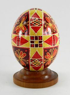 Polish Pysanky Egg Hand Painted Decorated Vintage Easter Blown Out Chicken Egg 20717 by JacksonsMarket on Etsy