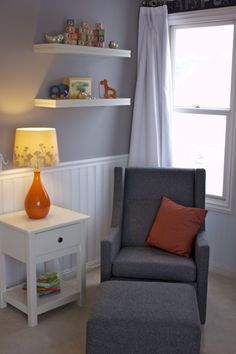 Modern Glider - love the orange accents! #projectnursery