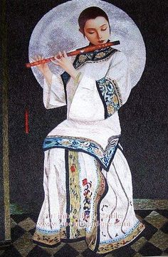Chinese Lady, hand embroidered silk art, handmade embroidery painting, China Suzhou embroidery art, Su Embroidery Studio