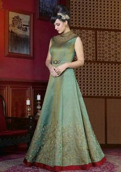 Buy sea green sentoon and silk embroidered and lace designer floor length salwar suit. This designer floor length salwar suit is prettified with attractive embroidered and lace. Indian Wedding Gowns, Indian Gowns Dresses, Indian Outfits, Ladies Dresses, Western Gown, Western Dresses, Western Art, Gown Party Wear, Party Gowns