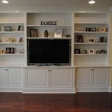 Built in with shelving and lower cupboard storage.