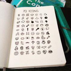 70 icons Sunday morning sketching. #ottawadesigner #sketchbook #bulletjournal