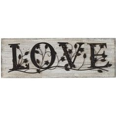 "Universal Lighting and Decor Love 26 1/2"" Wide Wood Wall Plaque ($20) ❤ liked on Polyvore featuring home, home decor, wall art, words, love, decor, quotes, black, wood wall art and country style home decor"