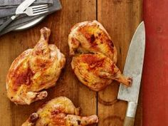 Brick Roasted Chicken with Chestnut Stuffing and Chicken Jus Recipe